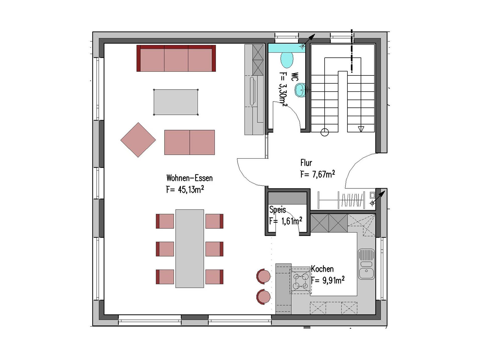 Grundriss Erdgeschoss Aktionshaus Cube 130 von Badenland