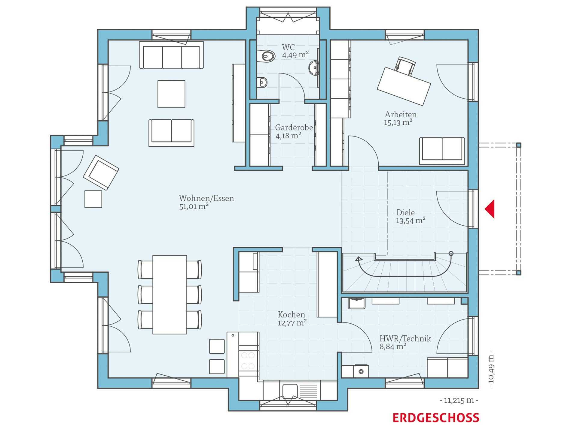 Hanse Haus Villa 207 Grundriss EG