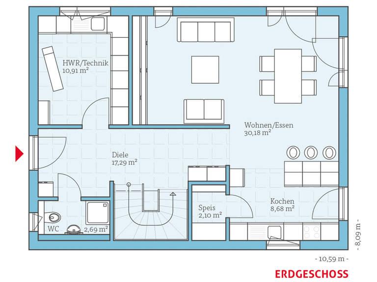 Hanse Haus Vita 143 Grundriss EG