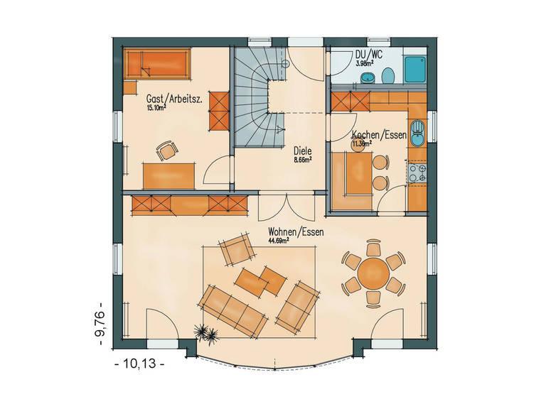 Grundriss Erdgeschoss Aktionshaus Sunny von Badenland