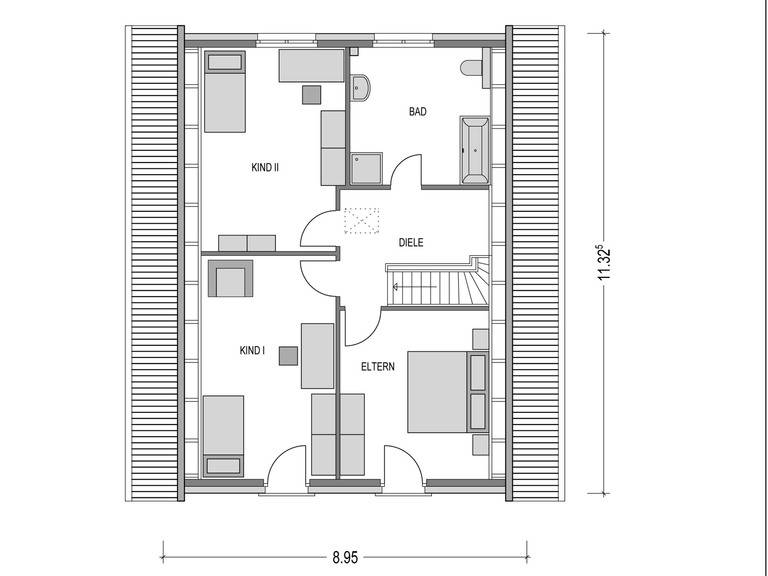 Einfamilienhaus KLASSIK.1000.1 Grundriss DG von Deutsche Bauwelten