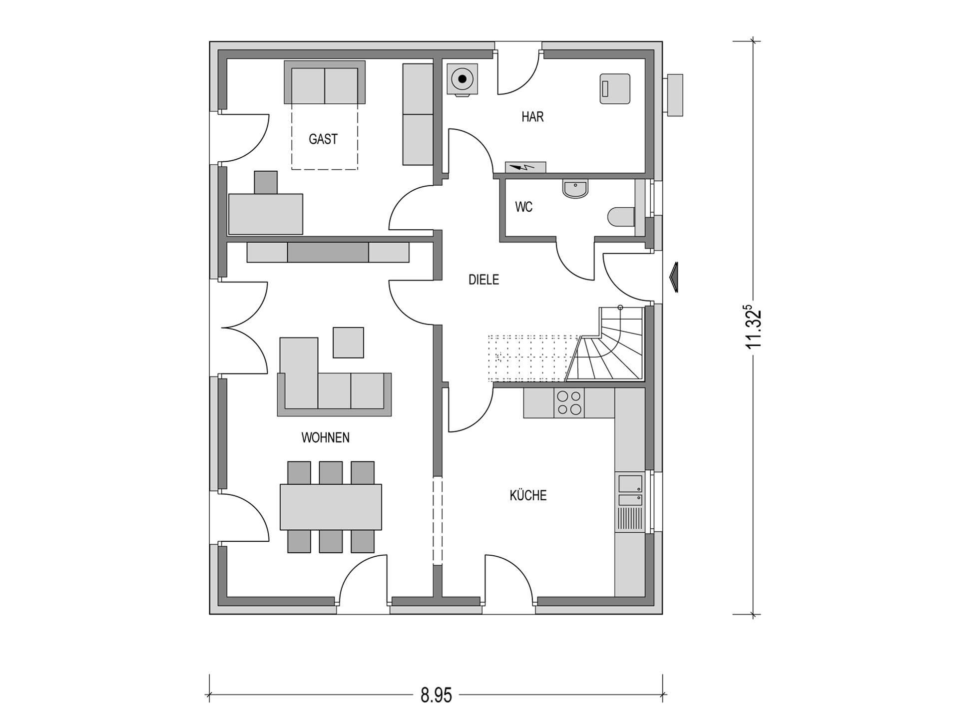 Einfamilienhaus KLASSIK.1000.1 Grundriss EG von Deutsche Bauwelten