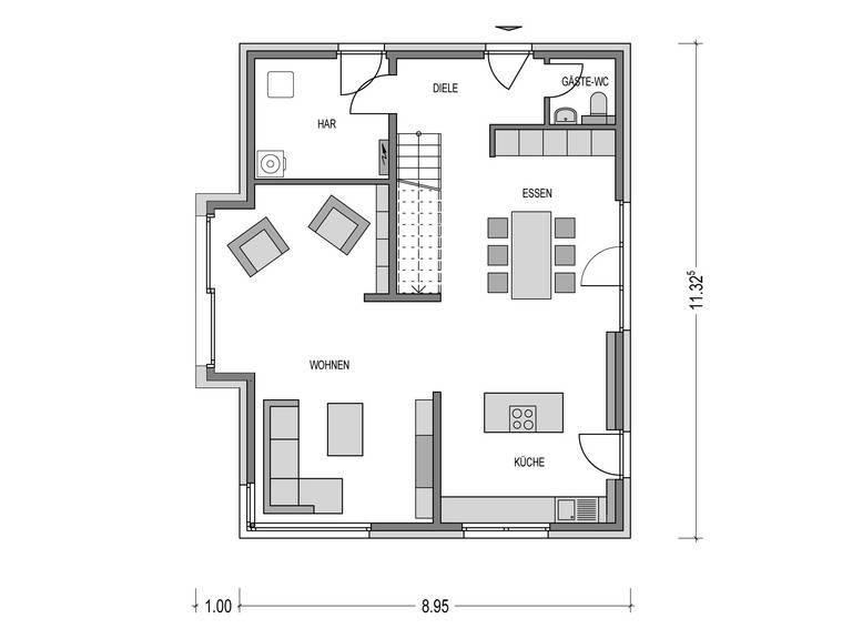 Einfamilienhaus KLASSIK 2000.2 Grundriss EG von Deutsche Bauwelten