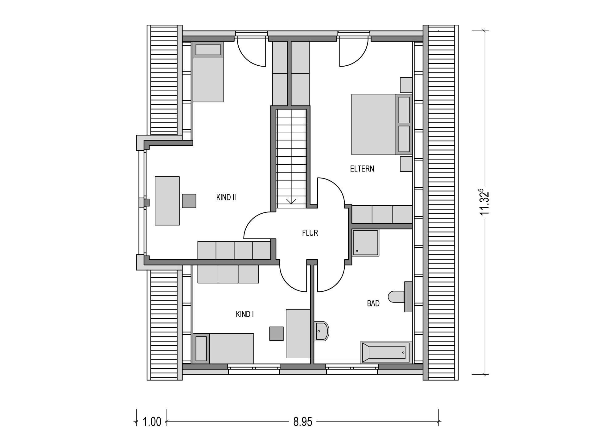 Einfamilienhaus KLASSIK 2000.2 Grundriss OG von Deutsche Bauwelten