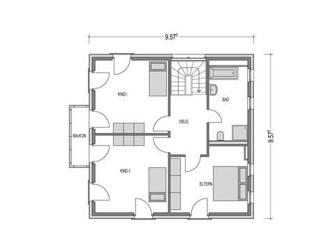 Stadtvilla 1150.SV Grundriss DG von Deutsche Bauwelten