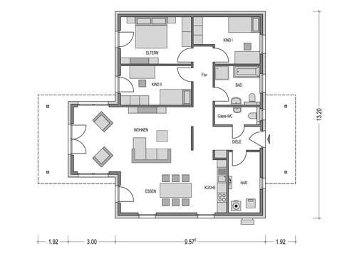 Bungalow IDEAL 2000.2 Grundriss von Deutsche Bauwelten