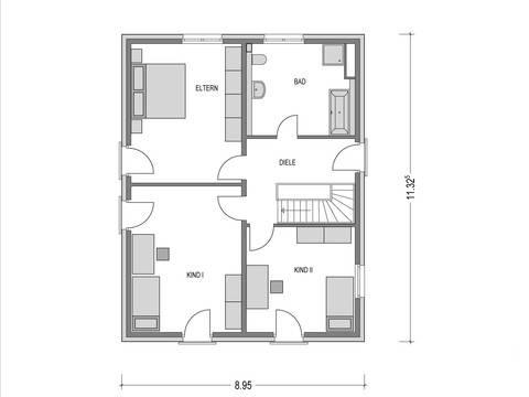 Flachdach-Haus URBAN 1000.2 Grundriss DG von Deutsche Bauwelten