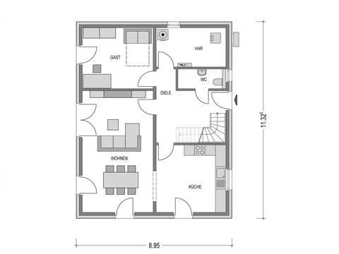 Flachdach-Haus URBAN 1000.2 Grundriss EG von Deutsche Bauwelten
