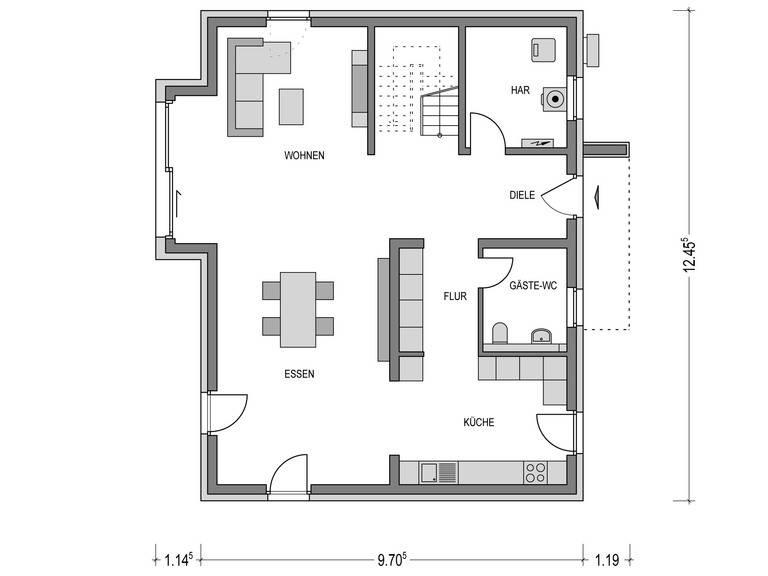 Flachdach-Haus URBAN 2000.2 Grundriss DG von Deutsche Bauwelten