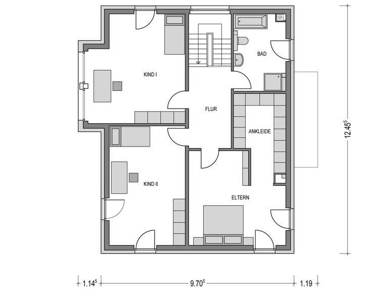 Flachdach-Haus URBAN 2000.2 Grundriss EG von Deutsche Bauwelten