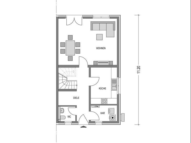 Doppelhaus VARIANT 1136.BB Grundriss EG von Deutsche Bauwelten