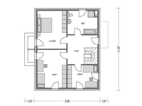Einfamilienhaus VARIANT 2000.2 Grundriss DG von Deutsche Bauwelten