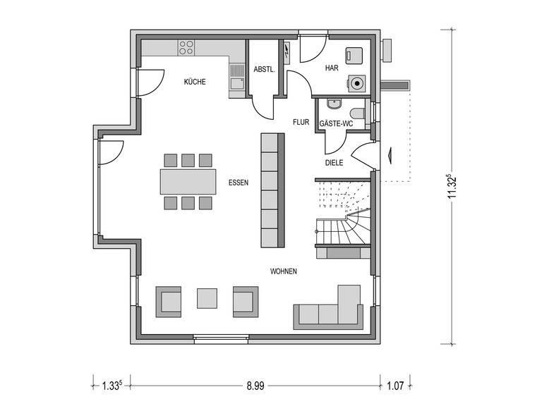 Einfamilienhaus VARIANT 2000.2 Grundriss EG von Deutsche Bauwelten