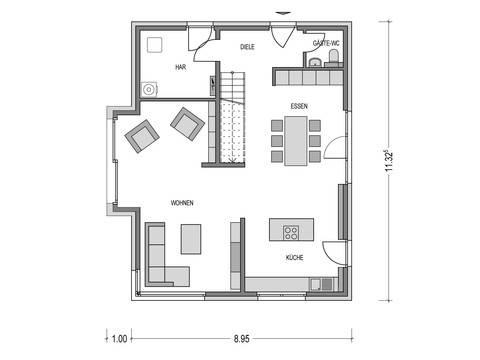 Haus ALTO SD.200.2 Grundriss EG von Heinz von Heiden