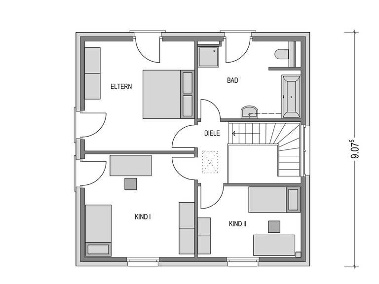 Stadtvilla ARCUS WD.100.2 Grundriss OG von Heinz von Heiden