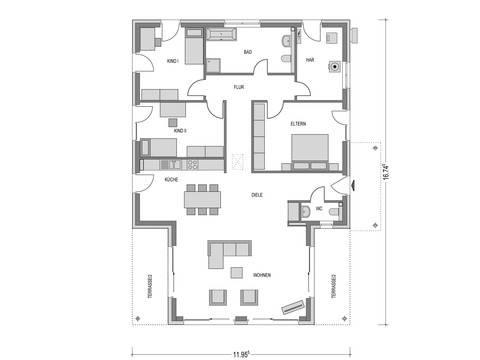 Bungalow CUMULUS WD.500.2 Grundriss von Heinz von Heiden