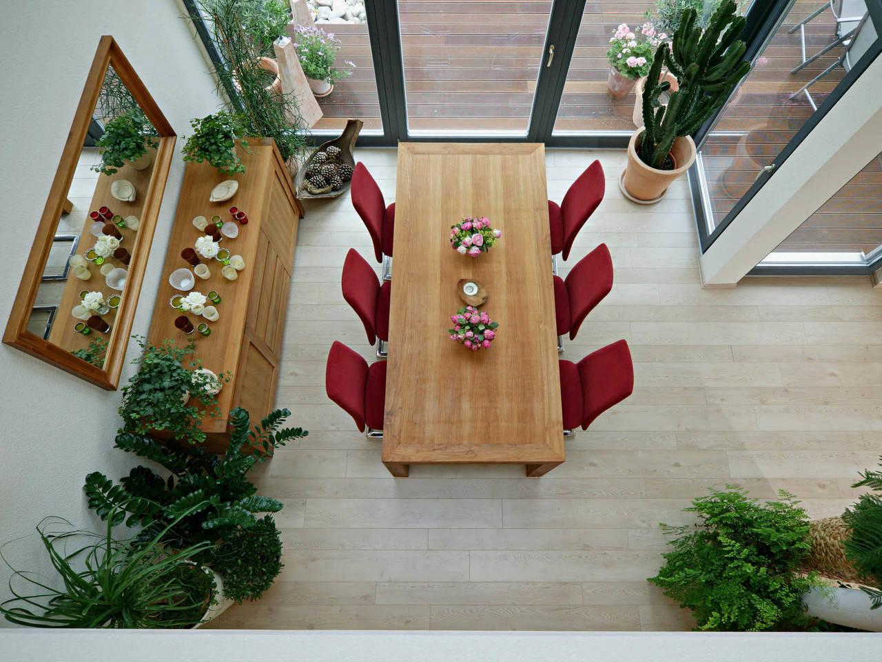 Haus Koch Fertighaus Weiss Esszimmer von oben