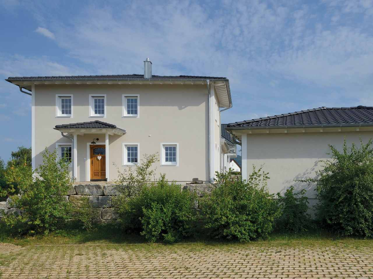 Haus Winter Eingang Fertighaus Weiss