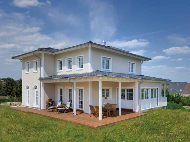 Haus Winter Terrasse Fertighaus Weiss