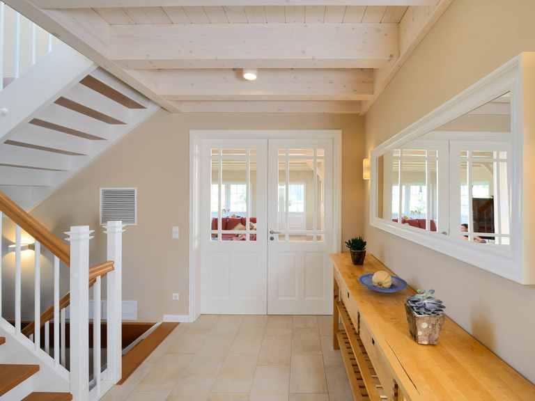 Haus Winter Flur Fertighaus Weiss