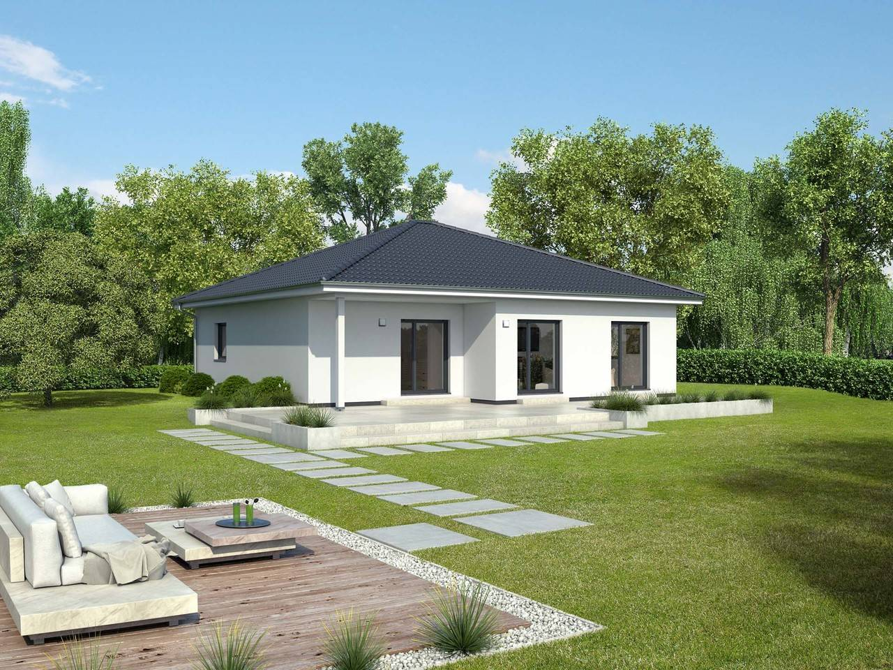 Bungalow bordeaux gussek haus for Single haus fertighaus