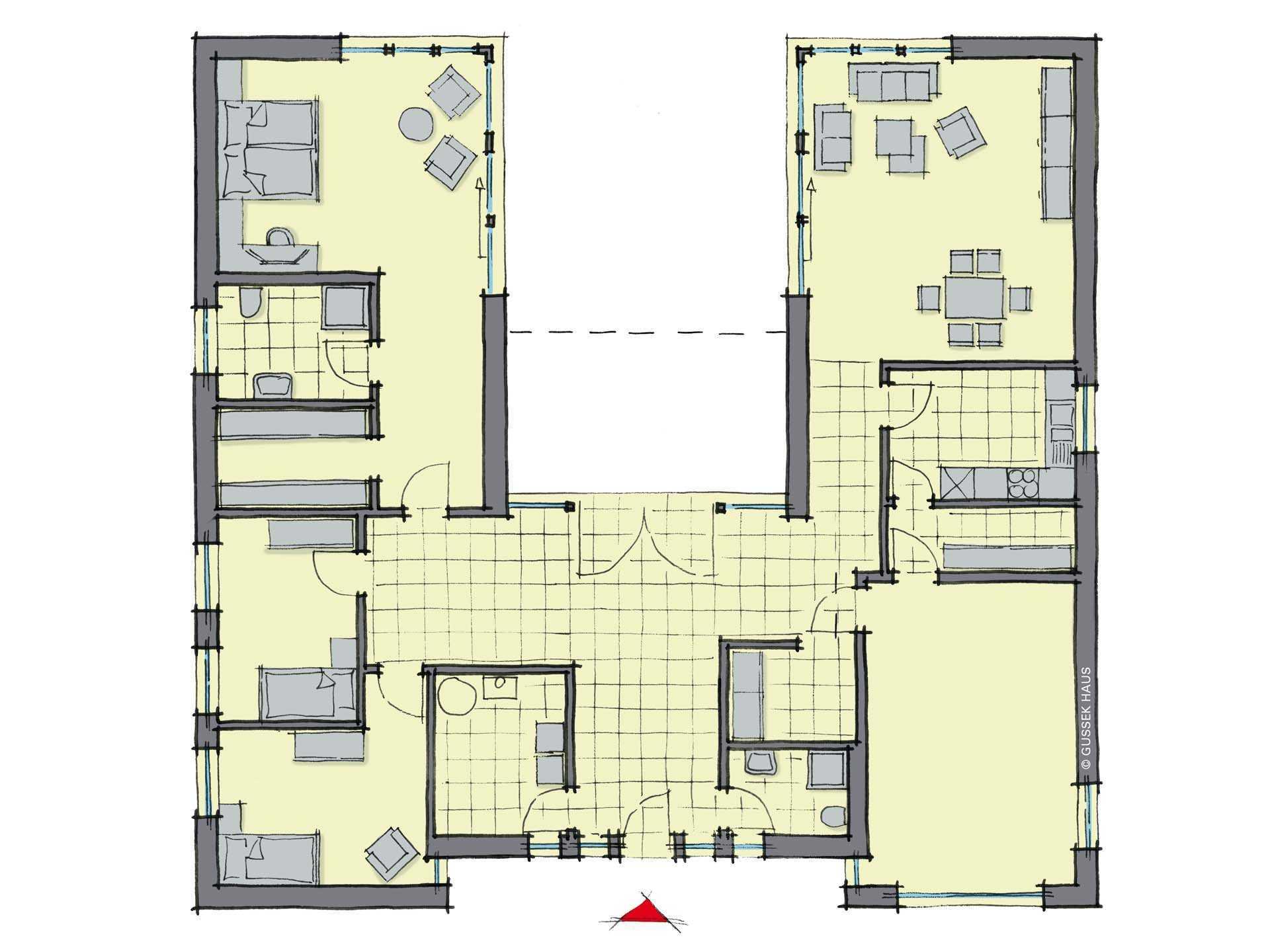Bungalow cote d azur gussek haus for Moderne bungalows grundrisse