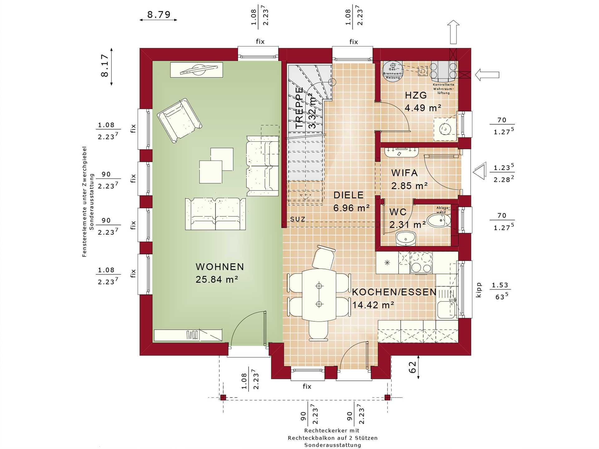 Bien-Zenker Evolution 116 V2 Einfamilienhaus Grundriss EG