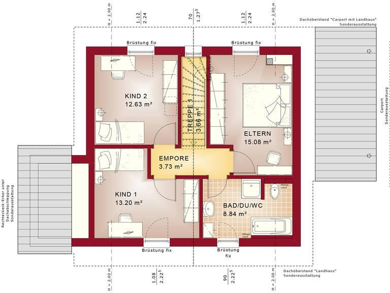 Bien-Zenker Evolution 116 V8 Einfamilienhaus Grundriss DG