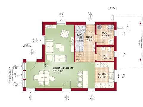 Bien-Zenker Evolution 116 V8 Einfamilienhaus Grundriss EG