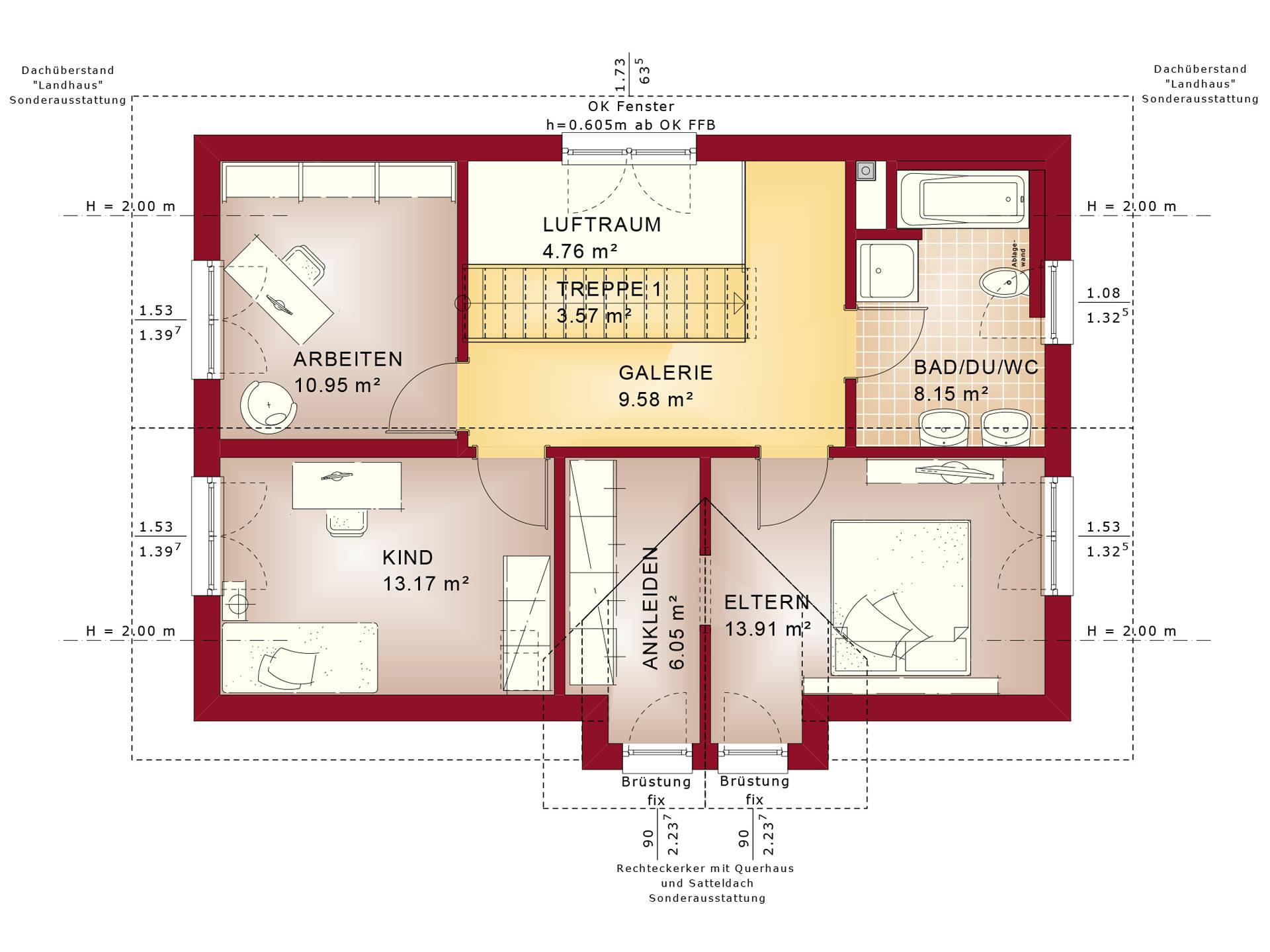 Bien-Zenker Evolution 135 V2 Einfamilienhaus Grundriss DG