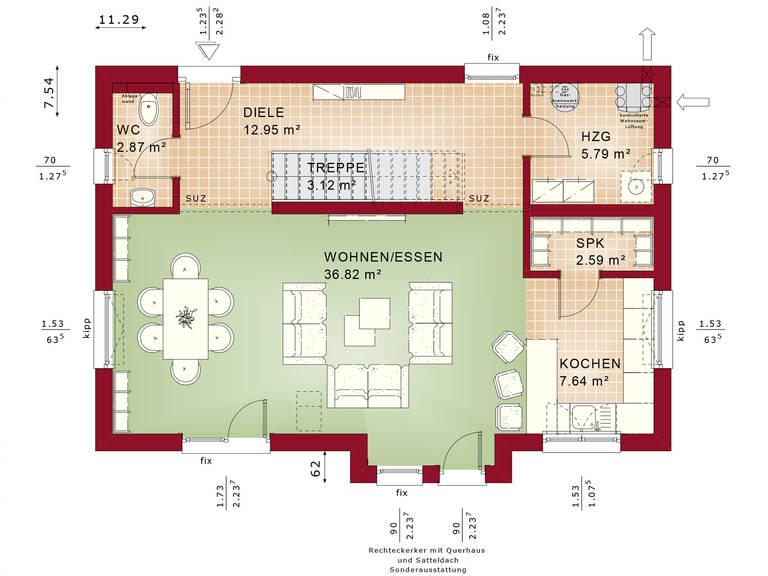 Bien-Zenker Evolution 135 V2 Einfamilienhaus Grundriss EG