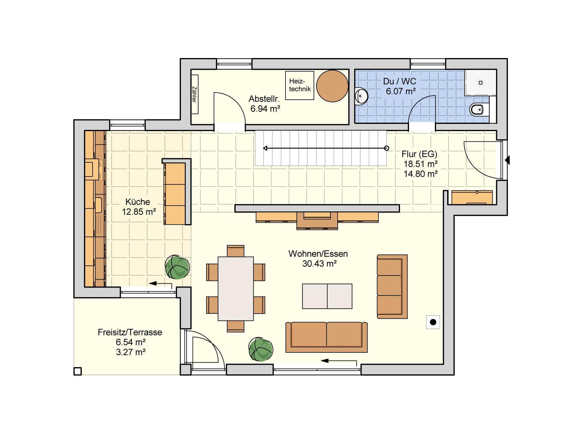 Fingerhut Haus Flachdachhaus F 97.10 Grundriss EG