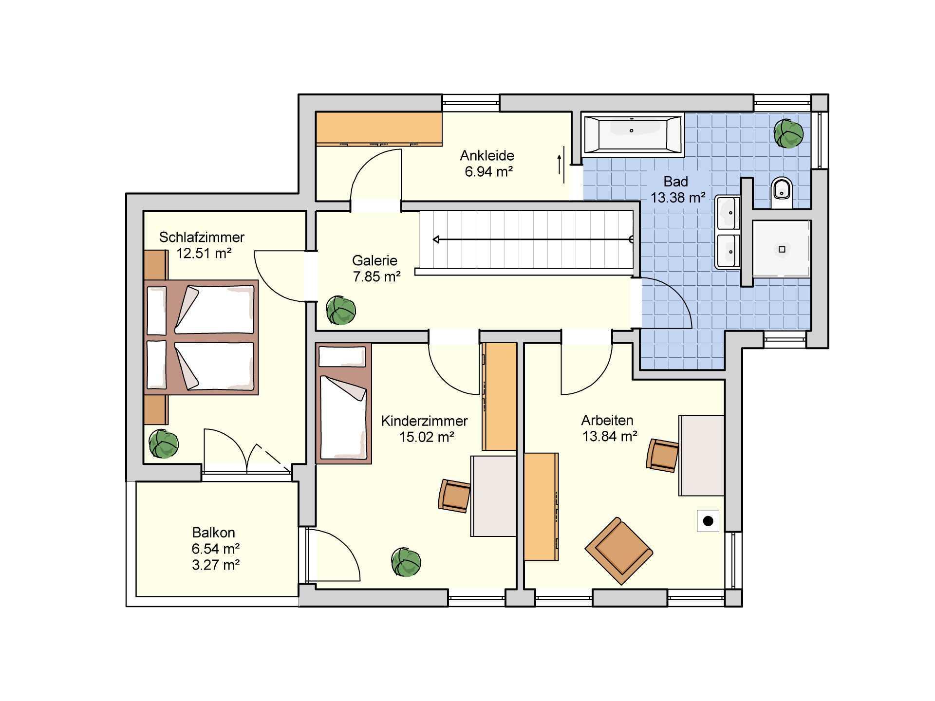 Fingerhut Haus Flachdachhaus F 97.10 Grundriss OG
