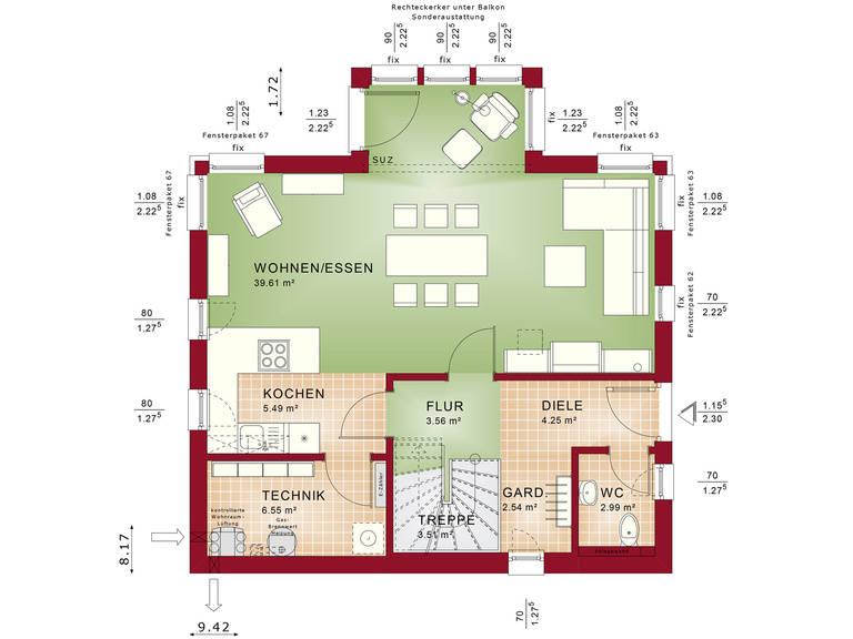 Edition 1 V7 – Einfamilienhaus Grundriss EG