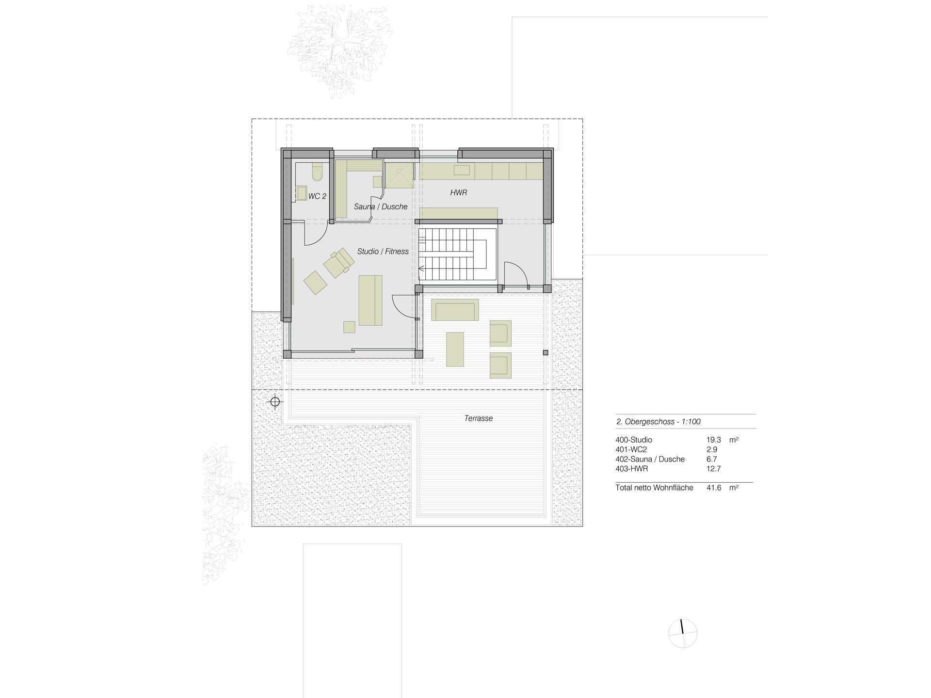HUF Haus ART Flachdach Grundriss OG2