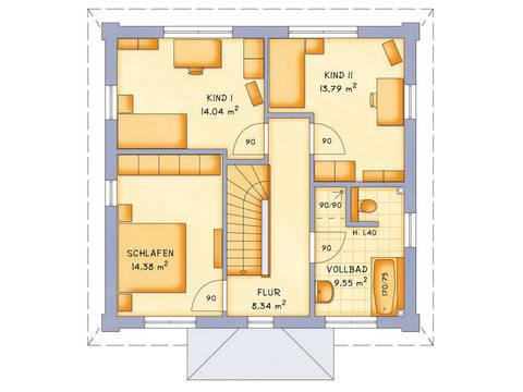Stadthaus VarioCity 124 Grundriss DG - HSE Massivhaus