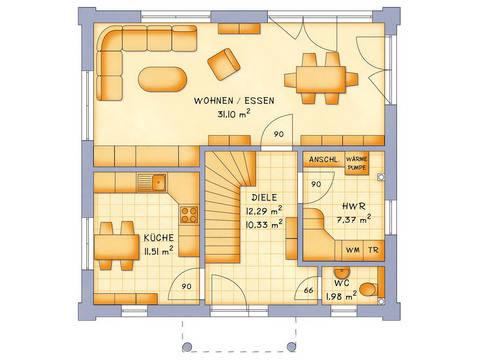 Stadthaus VarioCity 124 Grundriss EG - HSE Massivhaus