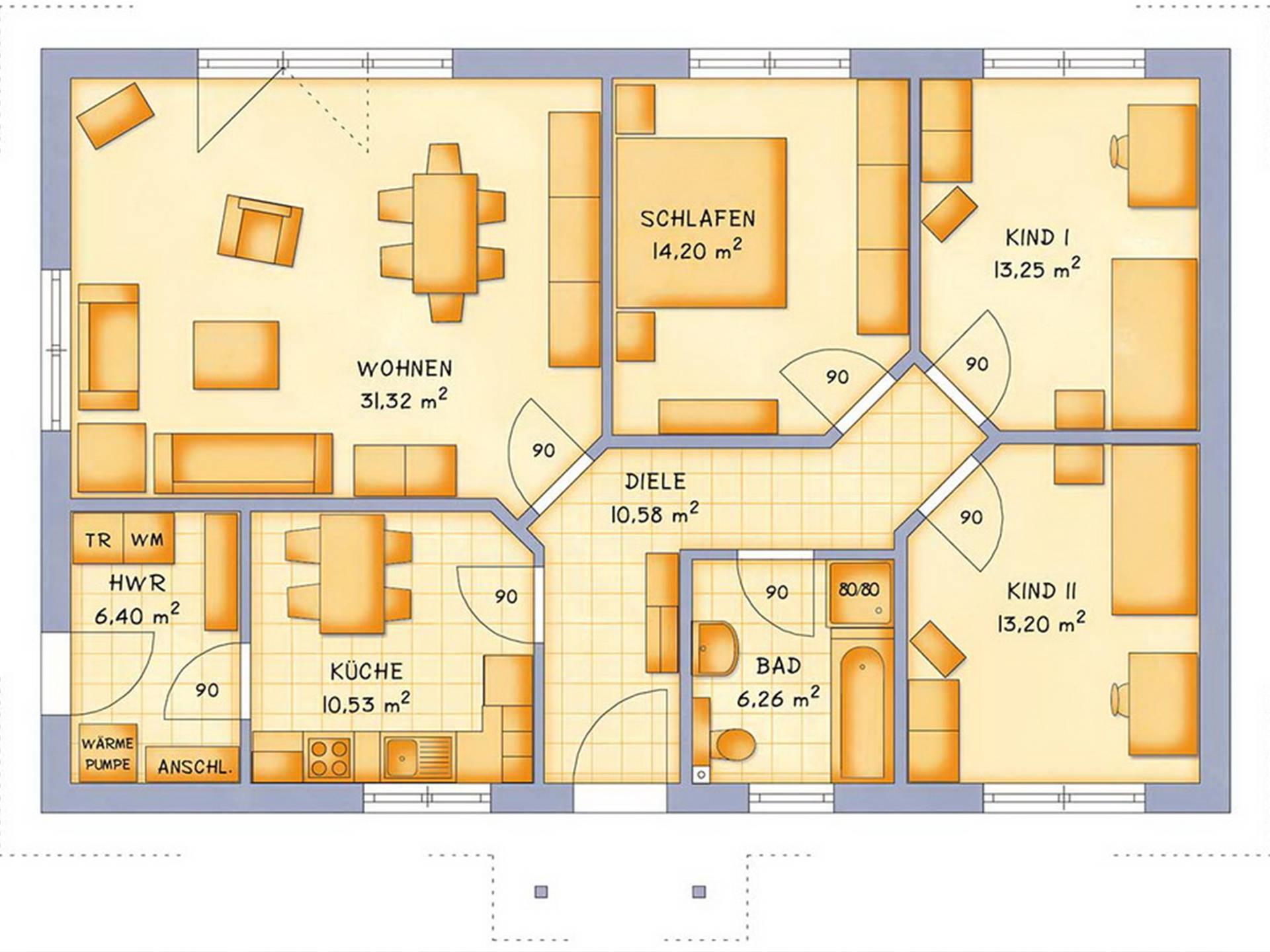 Bungalow VarioClassic 106 Grundriss - HSE Massivhaus