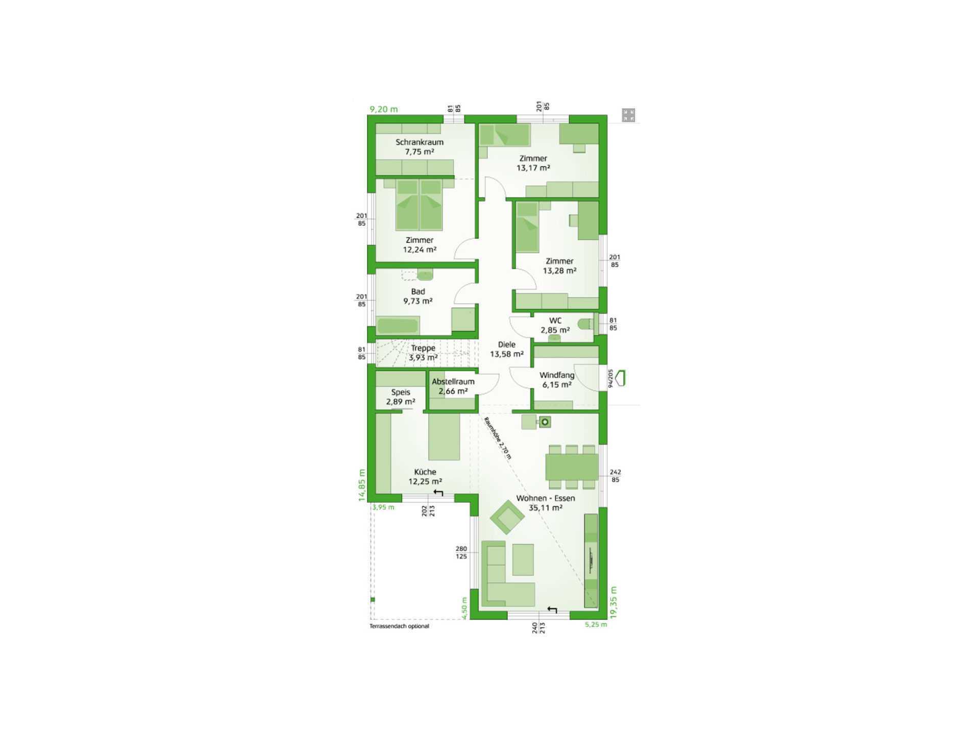 Bungalow Avantgarde 136 P Grundriss - Hartl Haus