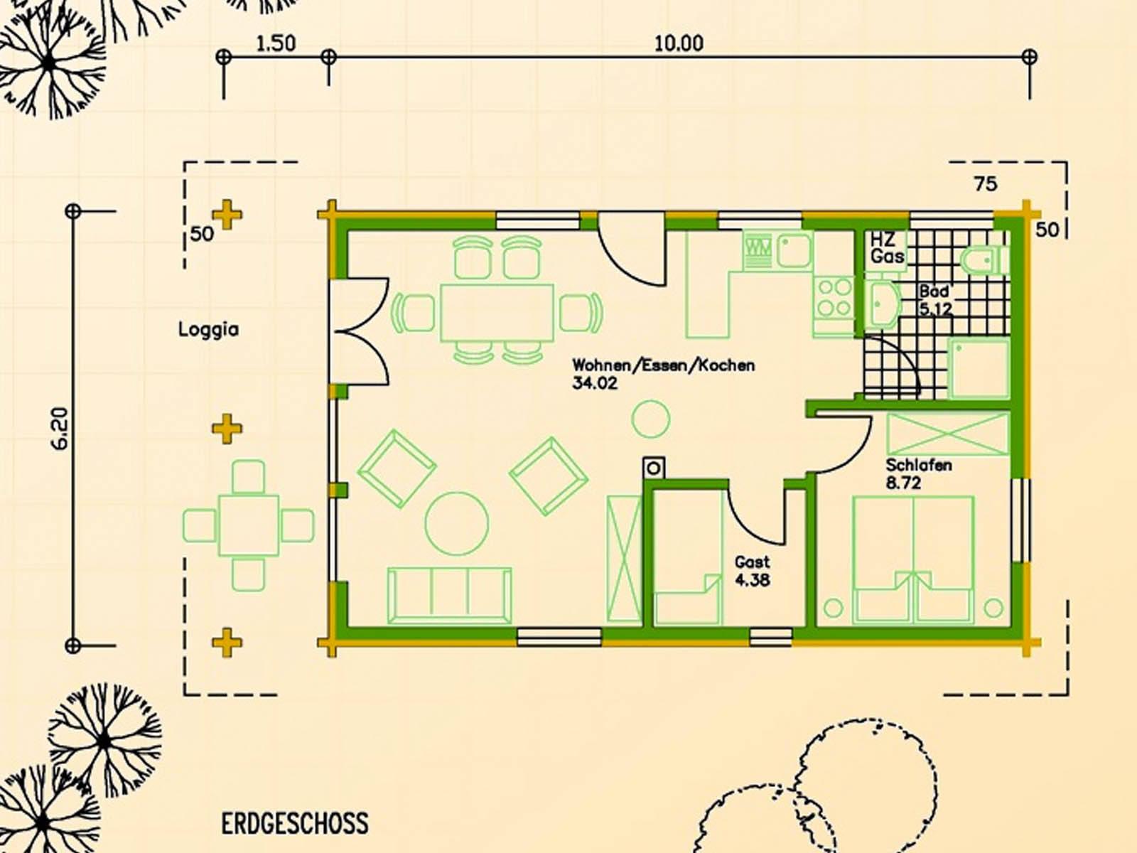 Blockhaus SB70-62 Grundriss Erdgeschoss