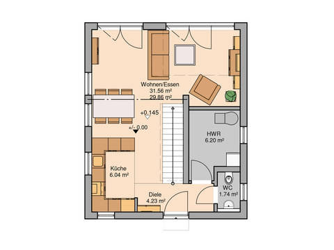 Single- und Paarhaus Fun von Kern-Haus Grundriss EG