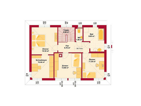 HARTL Haus Stadtvilla Trend 146 W Grundriss OG