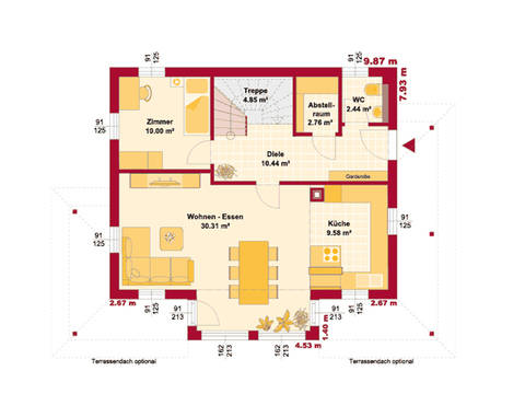 HARTL Haus Stadtvilla Trend 140 W Grundriss EG