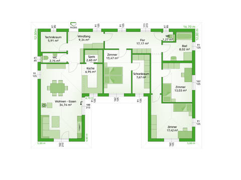 HARTL Haus Bungalow Elegance 140 W Grundriss EG