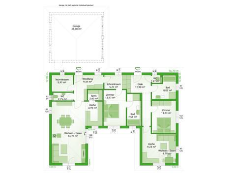 HARTL Haus Bungalow Elegance 140 W Grundriss EG - Variante Einliegerwohnung