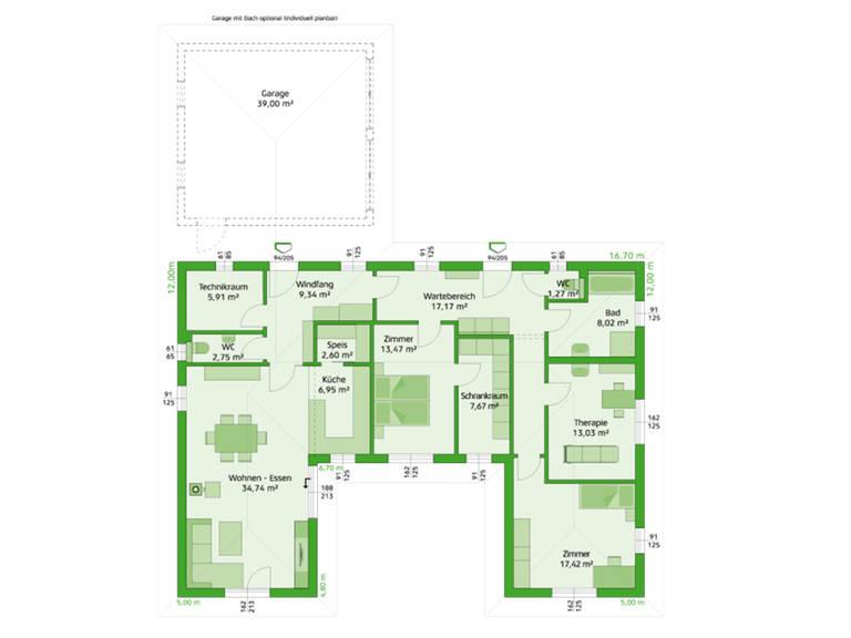 HARTL Haus Bungalow Elegance 140 W Grundriss EG - Variante Praxix
