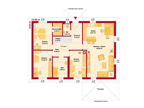 HARTL Haus Bungalow Trend 112 W Grundriss EG