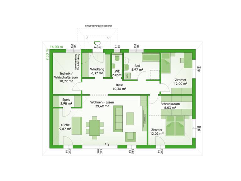 HARTL Haus Bungalow Comfort 113 W Grundriss EG