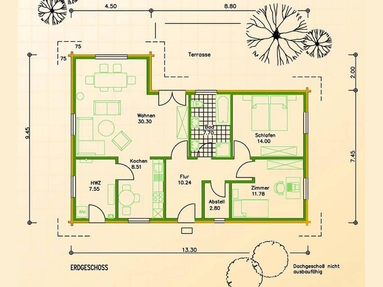 Blockhaus SB70-108 Grundriss Erdgeschoss