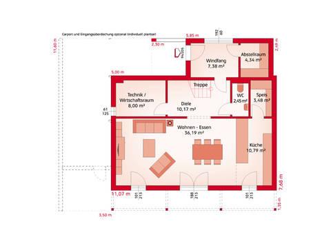 HARTL Haus Typenhaus Liberty 153 P Grundriss EG